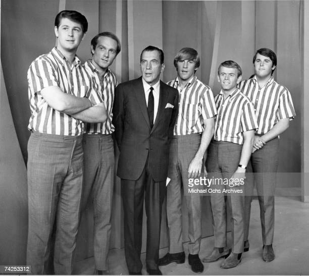 "Brian Wilson, Mike Love, Dennis Wilson, Al Jardine and Carl Wilson of the rock and roll band ""The Beach Boys"" pose for a portrait with variety show..."