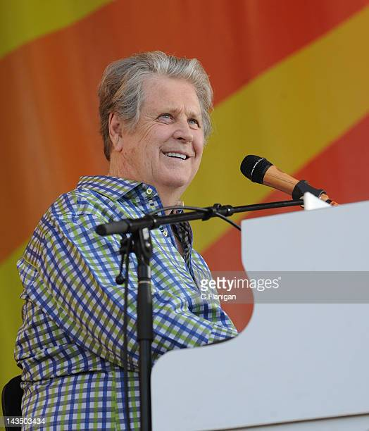 Brian Wilson of The Beach Boys performs during the 2012 New Orleans Jazz & Heritage Festival at the Fair Grounds Race Course on April 27, 2012 in New...