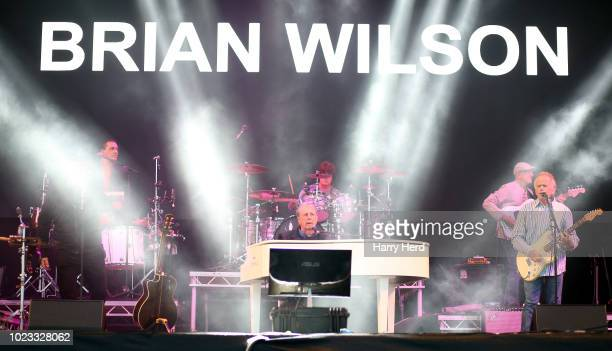 Brian Wilson of The Beach Boys performs with Al Jardine who co founded The Beach Boys at Victorious Festival on Southsea Seafront on August 25, 2018...