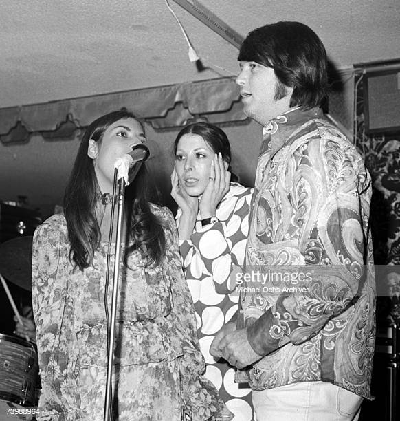 Brian Wilson of the Rock and roll group The Beach Boys and his wife Marilyn Wilson and her sister Diane Rovell of 'American Spring' support the...