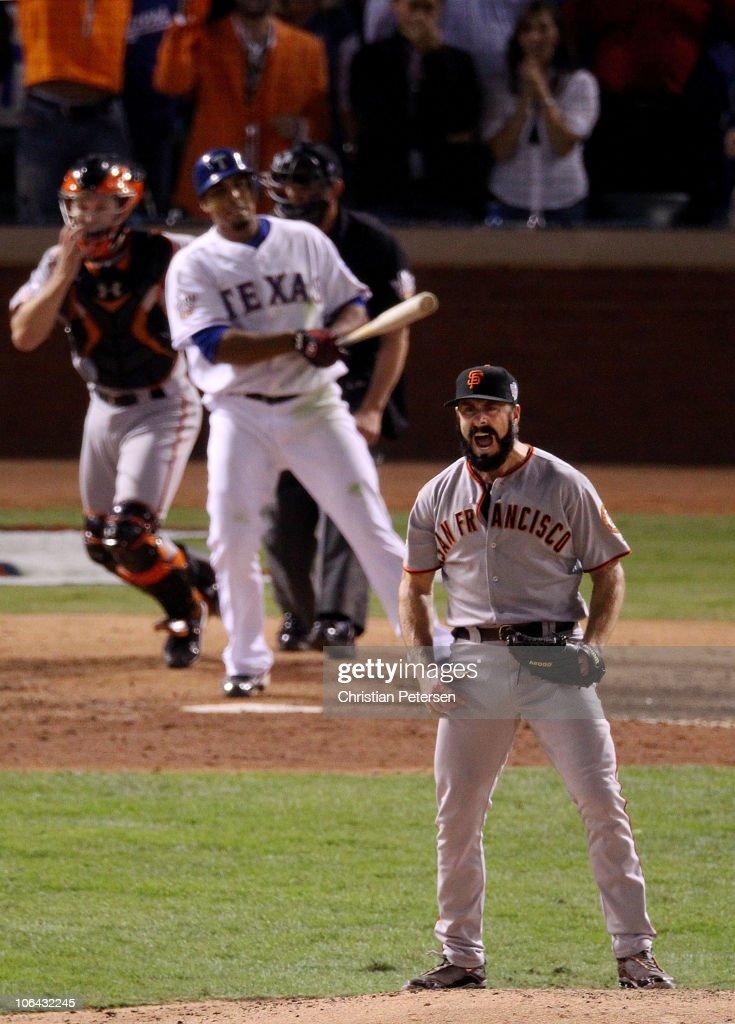 Brian Wilson #38 of the San Francisco Giants celebrates striking out Nelson Cruz #17 of the Texas Rangers to win the 2010 MLB World Series 3-1 at Rangers Ballpark in Arlington on November 1, 2010 in Arlington, Texas.