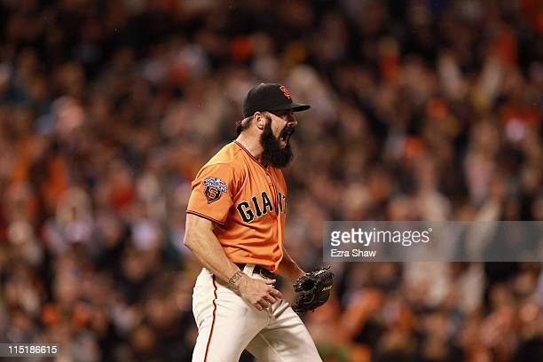 Brian Wilson of the San Francisco Giants reacts after he struck out Seth Smith of the Colorado Rockies to end the game at AT&T Park on June 3, 2011...