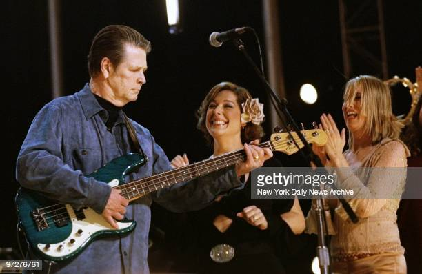 Brian Wilson performs with daughter Carnie Wilson and Chynna Phillips at An AllStar Tribute to Brian Wilson at Radio City Music Hall