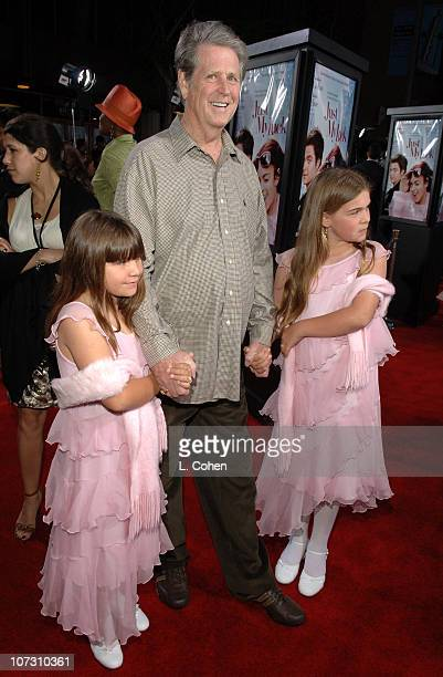 Brian Wilson with daughters Daria and Delanie during Just My Luck Los Angeles Premiere Red Carpet in Los Angeles California United States