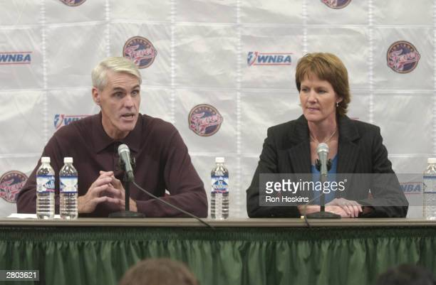 Brian Winters speaks with the media after being named head coach of the Indiana Fever while Fever General Manager Kelly Kraushopf listens on December...