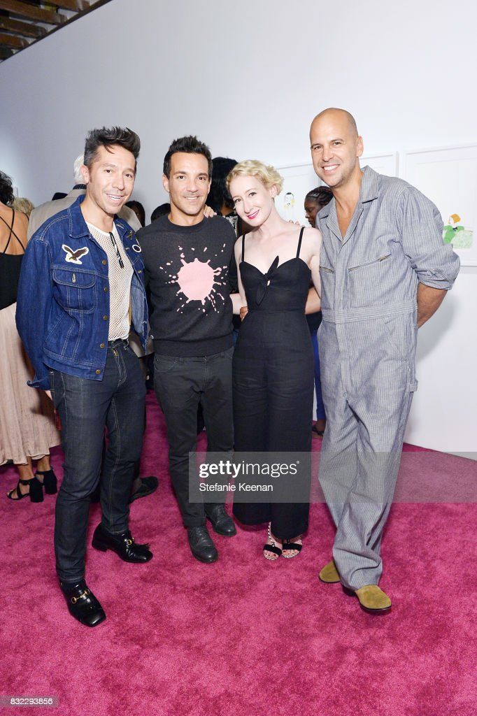 Brian Wolk, George Kotsiopoulos, Sarah Brown and Claude Morais at 'Pinkie Swear' Makeup Collective Celebrates Launch With Special Exhibition 'Drawn In: Beauty Illustration in the Digital World' Curated by Sarah Brown at Wilding Cran Gallery on August 15, 2017 in Los Angeles, California.