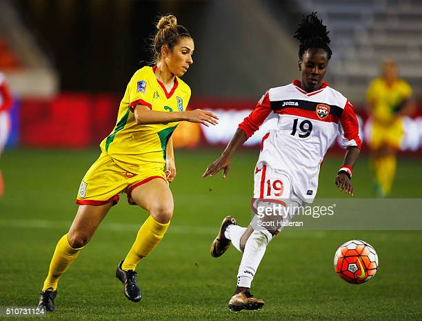 Briana De Souza of Guyana battles for the ball with Kennya Cordner of Trinidad Tobago during the 2016 CONCACAF Women's Olympic Qualifying at BBVA...