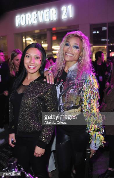 Briana Decoster and Alicia Marie attend A Night of Music and Mayhem in Harleywood hosted by the cast of Bird Of Prey held at Hollywood and Highland...