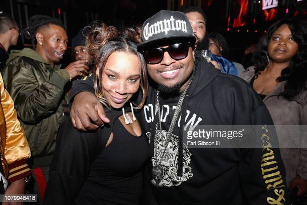 Briana Latrise and Lil EazyE attend WE tv Celebrates The Premiere Of Marriage Boot Camp Hip Hop Edition And Growing Up Hip Hop at Nightingale on...