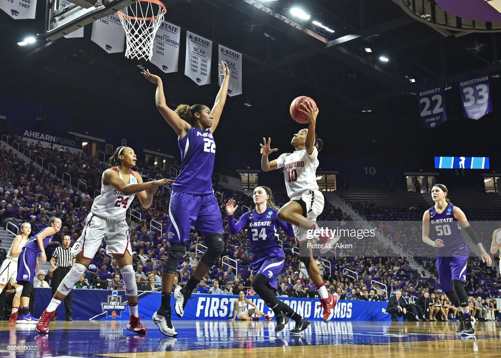 Briana Roberson #10 of the Stanford Cardinal drives to the basket against Breanna Lewis #22 of the Kansas State Wildcats during the second round of the 2017 NCAA Women's Basketball Tournament at Bramlage Coliseum on March 20, 2017 in Manhattan, Kansas.