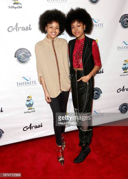 Briana Roy and Jenasha Roy arrive at Arasi's EP Release Party at The Federal Bar on December 23 2018 in North Hollywood California