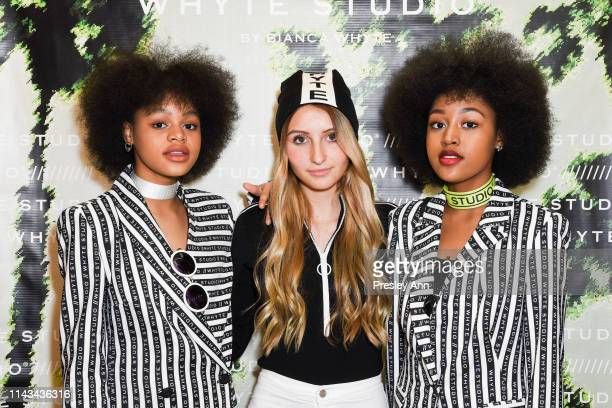 Briana Roy, Sophia Strauss and Jenasha Roy attend launch event for Whyte Studio's Festival Capsule Collection at Top Shop at the Grove on April 17,...