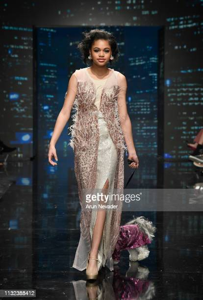 Briana Roy walks the runway wearing Anthony Rubio at Los Angeles Fashion Week FW/19 Powered by Art Hearts Fashion at The Majestic Downtown on March...