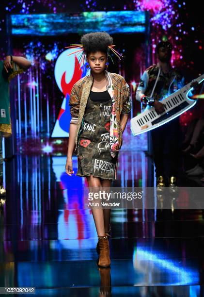 Briana Roy walks the runway wearing Burning Guitars at Los Angeles Fashion Week Powered by Art Hearts Fashion LAFW SS/19 at The Majestic Downtown on...