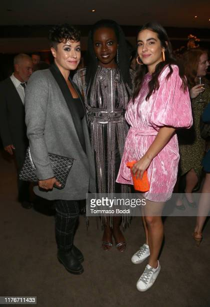 Briana Venskus Danai Gurira and Alanna Masterson attend The Walking Dead Premiere and Party on September 23 2019 in West Hollywood California