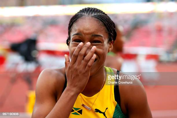 Briana Williams of Jamaica celebrates after winning gold in the final of the women's 100m on day three of The IAAF World U20 Championships on July 12...