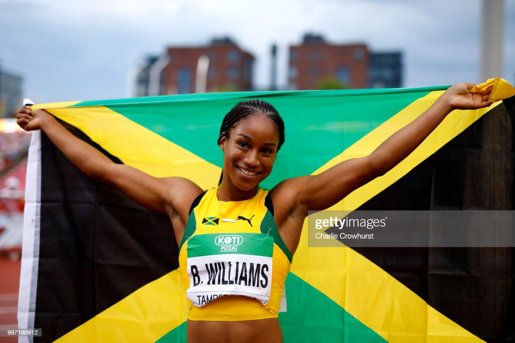 Briana Williams of Jamaica celebrates after winning gold in the final of the women's 100m on day three of The IAAF World U20 Championships on July 12, 2018 in Tampere, Finland.