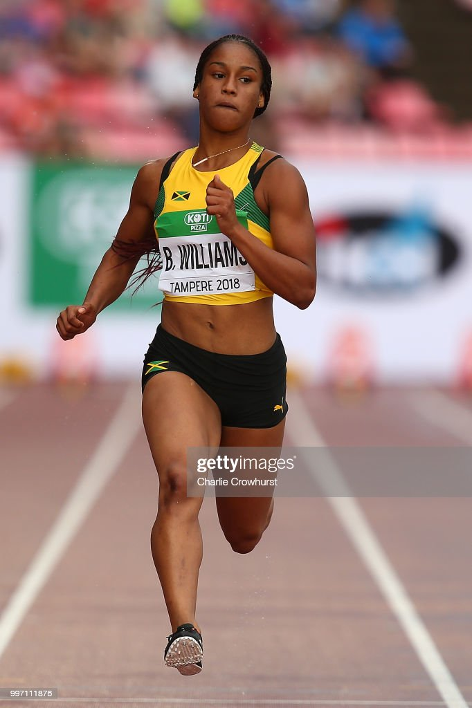 Briana Williams of Jamaica in action during heat 1 of the
