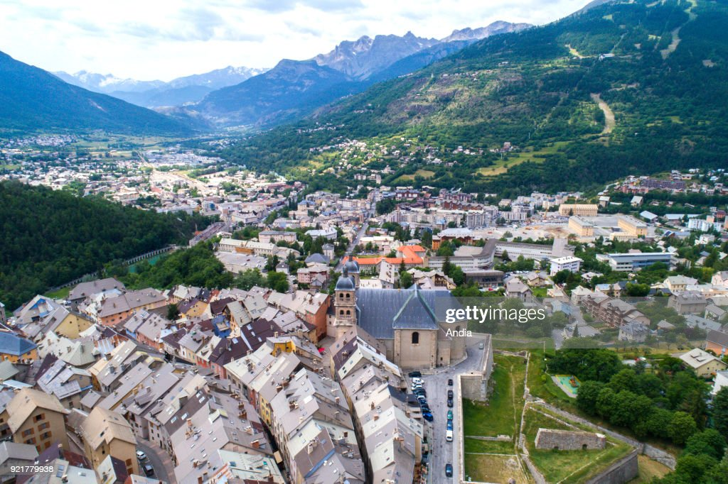 Briancon (south-eastern France). The Vauban City in the Upper City. Aerial view of the highest city in France, in summer, with the Collegiate Church of Notre-Dame-et-Saint-Nicolas.