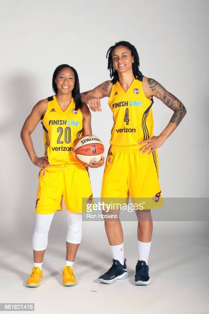 Briann January and Marissa Coleman of the Indiana Fever poses for a portrait during Media Day at Bankers Life Fieldhouse on May 9 2017 in...