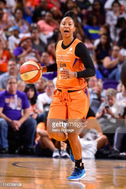 Briann January of Phoenix Mercury dribbles the ball during the game against the Las Vegas Aces on May 31 2019 at the Talking Stick Resort Arena in...