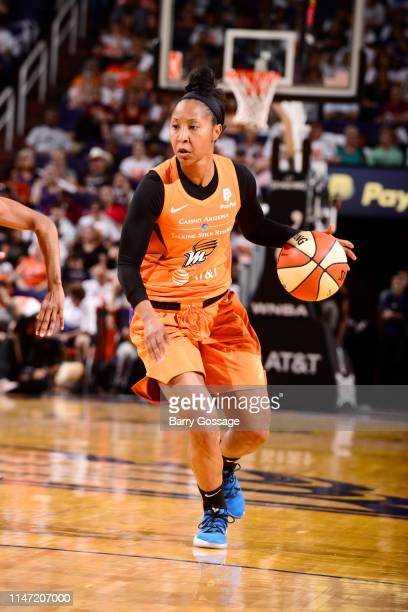 Briann January of Phoenix Mercury handles the ball during the game against the Las Vegas Aces on May 31 2019 at the Talking Stick Resort Arena in...