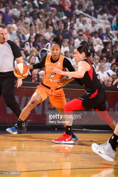 Briann January of Phoenix Mercury jocks for a position during the game against Kelsey Plum of Las Vegas Aces on May 31 2019 at the Talking Stick...