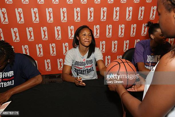 Briann January of the Indiana Fever attends an autograph session as part of the WNBA Preseason Tournament 2014 on May 10 2014 at ESPN Wide World of...