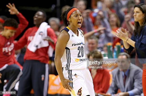 Briann January of the Indiana Fever celebrates after making a three point shot against the Minnesota Lynx during Game Three of the 2015 WNBA Finals...