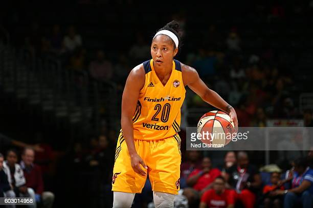 Briann January of the Indiana Fever handles the ball against the Washington Mystics on September 11 2016 at the Verizon Center in Washington DC NOTE...