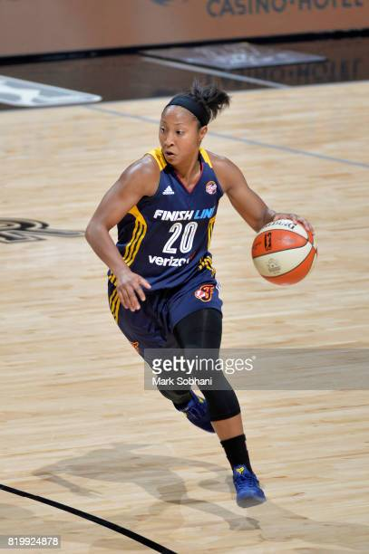 Briann January of the Indiana Fever handles the ball against the San Antonio Stars on July 20 2017 at the ATT Center in San Antonio Texas NOTE TO...