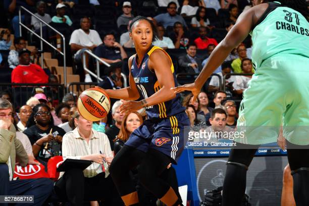 Briann January of the Indiana Fever handles the ball during the game against the New York Liberty during a WNBA game at Madison Square Garden on...
