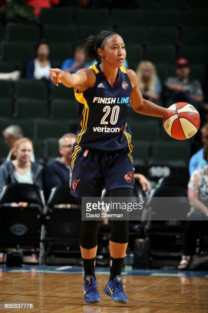Briann January of the Indiana Fever handles the ball during the game against the Minnesota Lynx during the WNBA game on August 18 2017 at Xcel Energy...