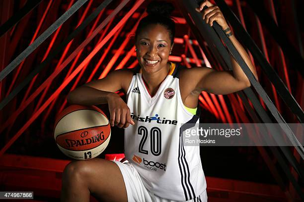 INDIANAPOLIS IN Briann January of the Indiana Fever poses for a portrait during Fever Media Day on May 27 2015 at Bankers Life Fieldhouse in...