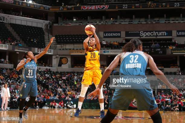 Briann January of the Indiana Fever shoots the ball against the Minnesota Lynx on August 6 2017 at Bankers Life Fieldhouse in Indianapolis Indiana...