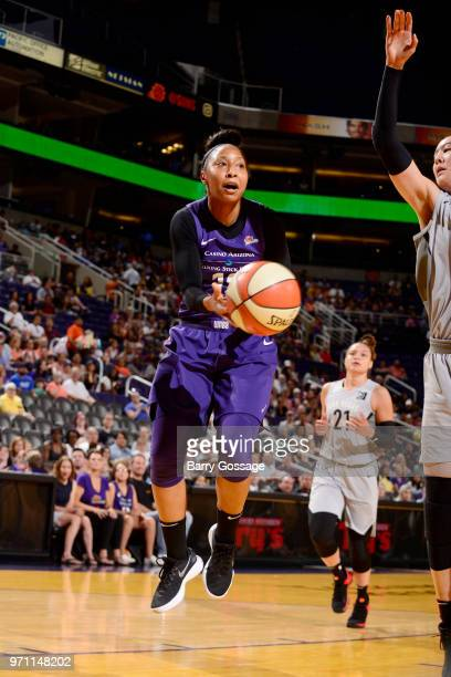 Briann January of the Phoenix Mercury goes to the basket against the Las Vegas Aces on June 10 2018 at Talking Stick Resort Arena in Phoenix Arizona...