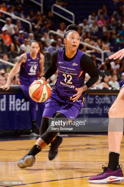 Briann January of the Phoenix Mercury handles the ball against the Las Vegas Aces on July 19 2018 at Talking Stick Resort Arena in Phoenix Arizona...