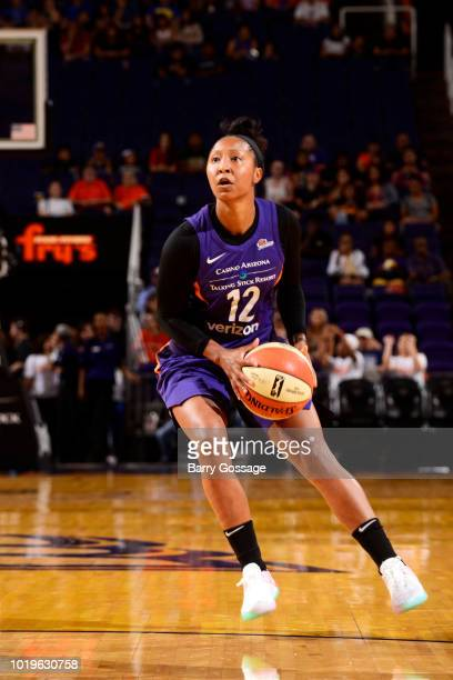 Briann January of the Phoenix Mercury handles the ball against the New York Liberty on August 19 2018 at Talking Stick Resort Arena in Phoenix...
