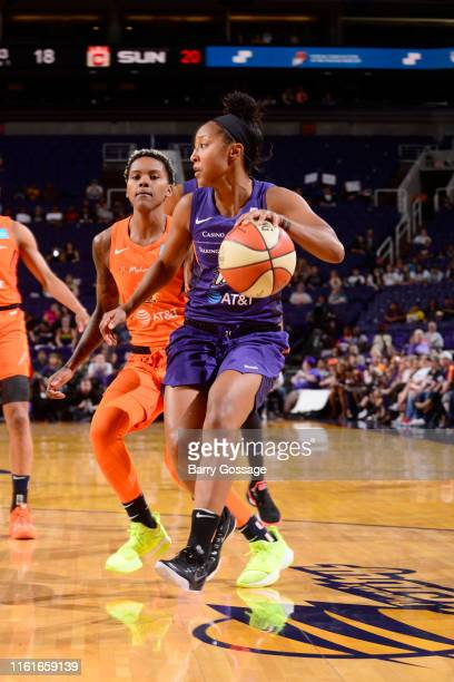 Briann January of the Phoenix Mercury handles the ball against the Connecticut Sun on August 14 2019 at Talking Stick Resort Arena in Phoenix Arizona...