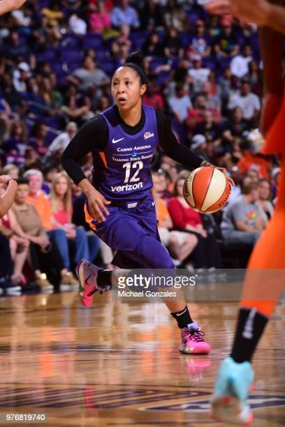 Briann January of the Phoenix Mercury handles the ball against the Connecticut Sun on June 16 2018 at Talking Stick Resort Arena in Phoenix Arizona...