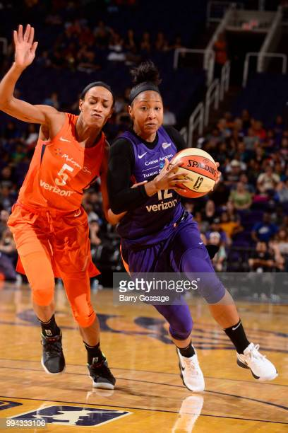 Briann January of the Phoenix Mercury handles the ball against the Connecticut Sun on July 5 2018 at Talking Stick Resort Arena in Phoenix Arizona...