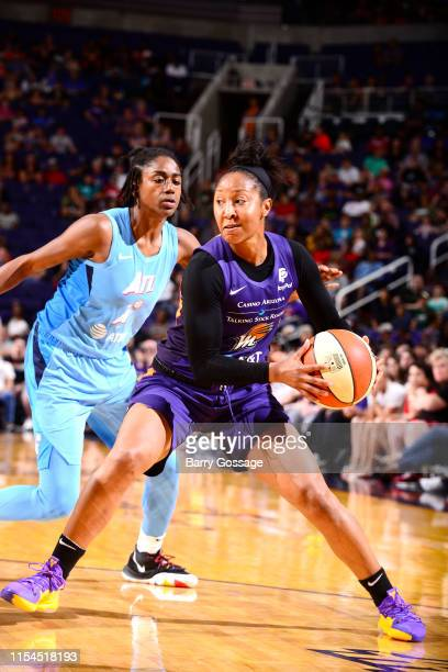Briann January of the Phoenix Mercury handles the ball during the game against Tiffany Hayes of the Atlanta Dream on July 7 2019 at the Talking Stick...