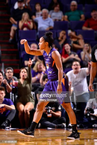 Briann January of the Phoenix Mercury reacts to a play during the game against the Connecticut Sun on August 14 2019 at Talking Stick Resort Arena in...