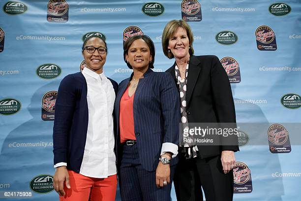 Briann January Pokey Chatman and Kelly Krauskopf pose for a photo during a press conference naming Pokey Chatman as the new head coach of the Indiana...