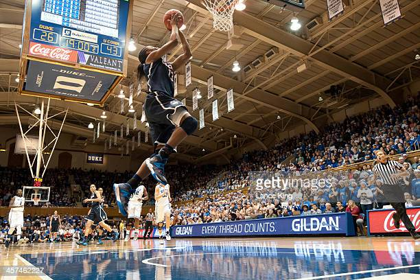 Brianna Banks of the Connecticut Huskies goes to the hoop against the Duke Blue Devils at Cameron Indoor Stadium on December 17 2013 in Durham North...