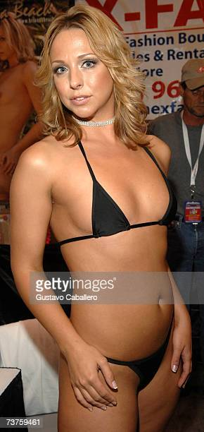 Brianna Beach poses at Exxxotica Miami Beach at the Miami Beach Convention Center on March 31 2007 in Miami Florida