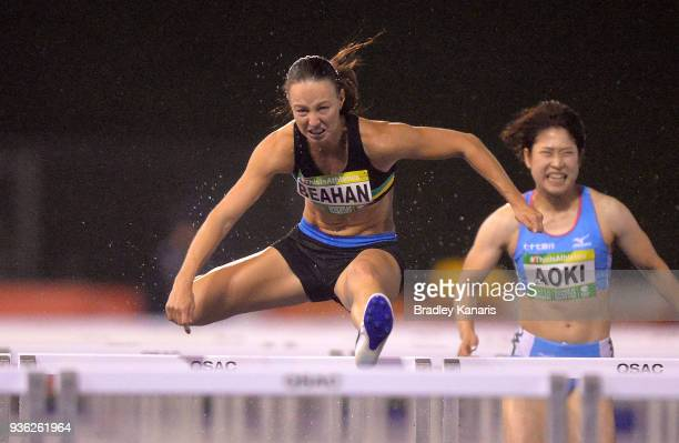 Brianna Beahan competes in the Women's 100m Hurdle event during the Summer of Athletics Grand Prix at QSAC on March 22 2018 in Brisbane Australia
