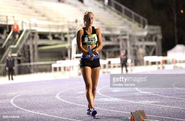 Brianna Beahan prepares to compete in the Women's 4x100m relay event during the Summer of Athletics Grand Prix at QSAC on March 22 2018 in Brisbane...