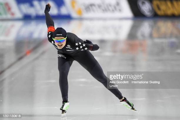 Brianna Bocox of the United States competes in the ladies' 1000 meter during the ISU World Single Distances Speed Skating Championships on February...
