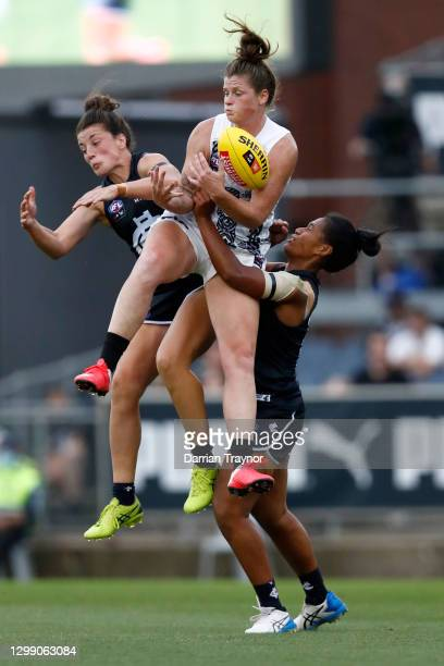 Brianna Davey of Collingwood marks the ball during the round one AFLW match between the Carlton Blues and the Collingwood Magpies at Ikon Park on...